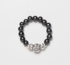 black beaded stretch ring with silver flower
