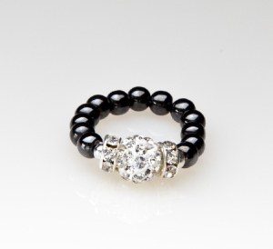 black beaded stretch ring with silver crystal accent bead