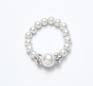 white beaded stretch ring with white ball and silver crystal accents