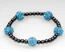 Five Blue Crystal Ball Magnetic Stretch Bracelet