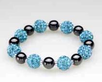 Multi Blue Crystal Ball Magnetic Stretch Bracelet