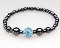 Single Blue Crystal Ball Magnetic Stretch Bracelet