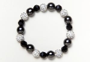 Black Glass and Shamballa Beads Bracelet