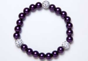 Burgundy and Shamballa Beads Bracelet