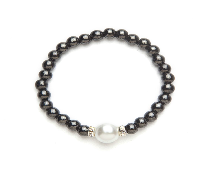 Black and White Magnetic Stretch Bracelet