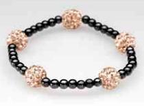 Five Gold Crystal Magnetic Stretch Bracelet