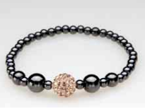 Single Gold Crystal Ball Magnetic Stretch Bracelet