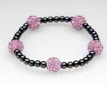 Five Pink Crystal Ball Magnetic Stretch Bracelet