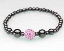 Single Pink Crystal Ball Magnetic Stretch Bracelet