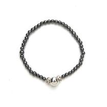 Black & Sterling Silver Magnetic Stretch Bracelet