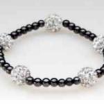 Five Silver Ball Crystal Magnetic Stretch Bracelet