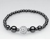 Single Silver Crystal Ball Magnetic Stretch Bracelet