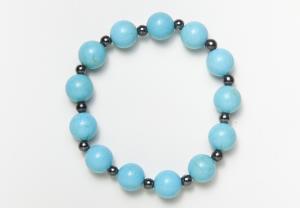 Turquoise & Black Magnetic Stretch Bracelet