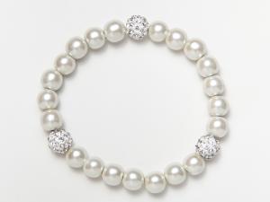 White and Shamballa Beads Magnetic Stretch Bracelet