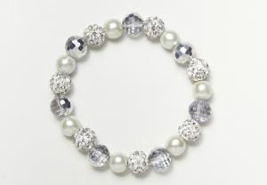 White Glass and Shamballa Beads Bracelet