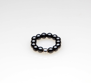 black beaded stretch pinky toe ring with silver ball accent