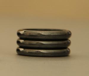 Thin Black Magnetic Hematite Band Ring