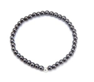 Thin Black Magnetic Stretch Bracelet with Silver Plated Ball