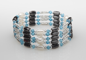 Light Blue Crystal and Freshwater Pearl Magnetic Wrap
