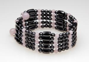 Rose Quartz and Black Magnetic Wrap