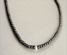 Thin Black Beaded Necklace with Sterling Silver Ball