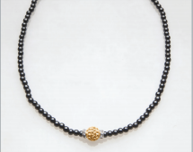 Gold Crystal Ball with Rondelles Magnetic Necklace