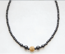 Gold Crystal Ball Magnetic Beaded Necklace