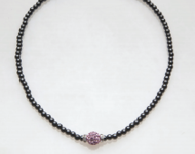 Pink Crystal Ball with Rondelles Magnetic Necklace