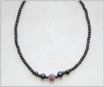 Pink Crystal Ball Magnetic Beaded Necklace