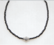 Silver Crystal Ball with Crystal Rondelles Magnetic Beaded Necklace