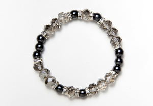 Black and Smokey Glass Bead Magnetic Stretch Bracelet