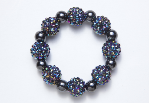 Large Purple and Blue Crystal Ball Magnetic Stretch Bracelet