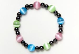 Black and Multi-Color Cat's Eye Magnetic Stretch Bracelet