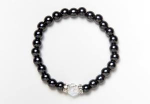 Black and Crystal Magnetic Stretch Bracelet