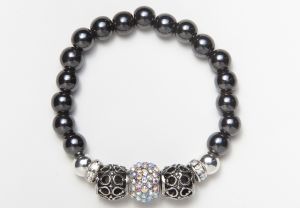 Black Magnetic Stretch Bracelet with Silver Beads and Crystal Rondelles