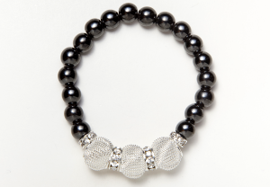 Black Magnetic Stretch Bracelet with Silver Mesh Beads