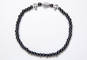 Black and Silver Magnetic FAITH Stretch Bracelet