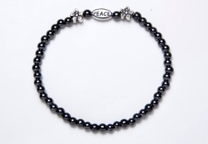 Black and Silver Magnetic PEACE Stretch Bracelet