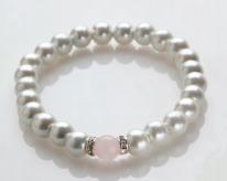 Rose Quartz and White Magnetic Stretch Bracelet