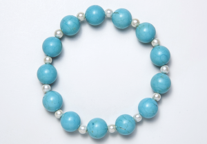 Turquoise & White Magnetic Stretch Bracelet
