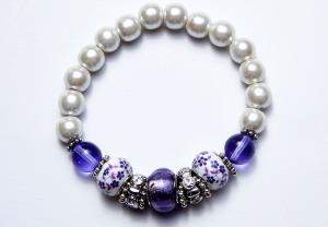 white, amethyst, and crystal beaded bracelet