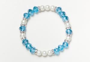 Light Blue Glass Bead Magnetic Stretch Bracelet