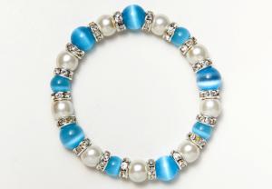 White and Light Blue Cat's Eye Magnetic Stretch Bracelet