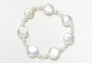 White Coin Pearl and Crystal Magnetic Stretch Bracelet