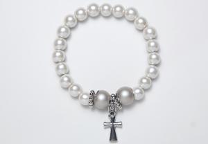 White Cross Magnetic Stretch Bracelet