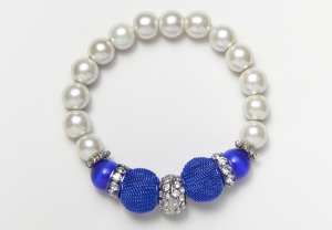 White and Blue Cat's Eye and Mesh Stretch Bracelet