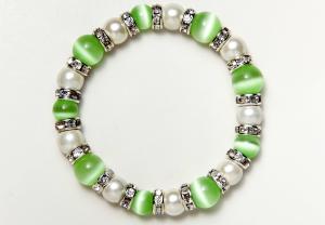 White and Light Green Cat's Eye Magnetic Stretch Bracelet