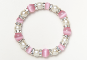 White and Pink Cat's Eye Magnetic Stretch Bracelet