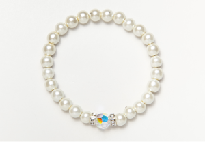 White and Crystal Magnetic Stretch Bracelet