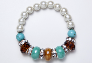 Turquoise, Crystal, and White Beaded Bracelet